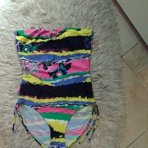 Funky Neon Strapless Side The One Piece Sz L